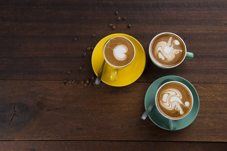latte with wood background