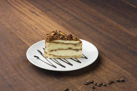 nut shortcake with dark wood background