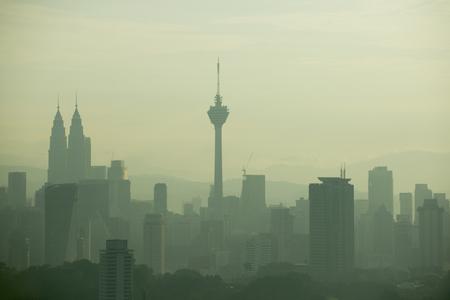kuala lumpur skyline view with fog