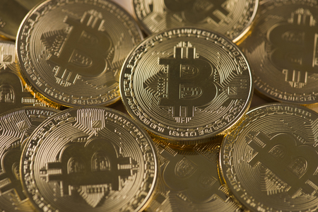 a lot of bitcoins Stock Photo