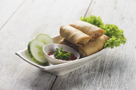 deep fried spring rolls , popia