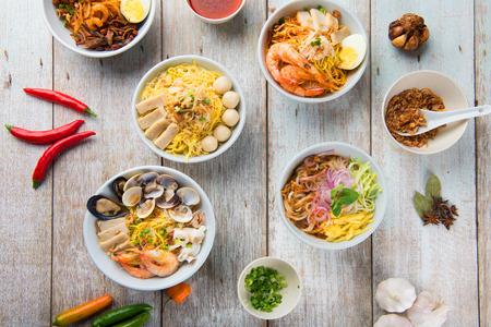 various malaysian noodles top up view