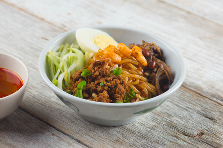 chilli pan mee asian food Stock Photo