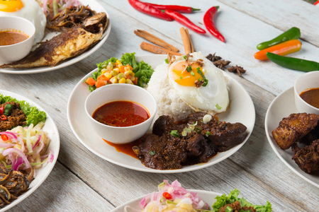 various malaysian rice and dishes Stock Photo