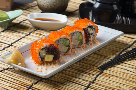 California Maki Sushi with Masago Stock Photo