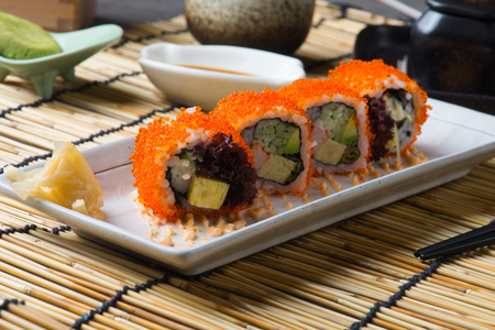 California Maki Sushi with Masago Archivio Fotografico