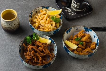 various japanese deep fried foods Stockfoto