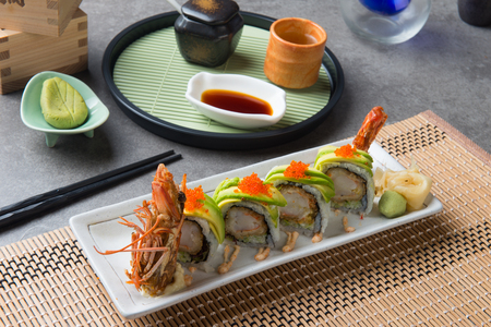 dragon roll king prawn sushi