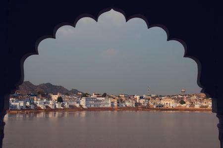Sacred town of  Pushkar, framed Stock Photo