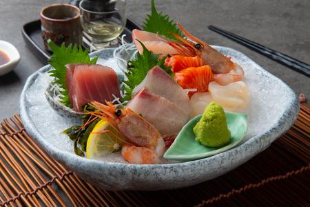 japanese foods sashimi (raw sliced fish, shellfish or crustaceans) Stock Photo