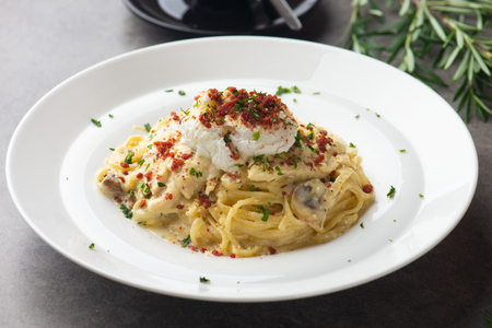Pasta carbonara and poach egg and chicken