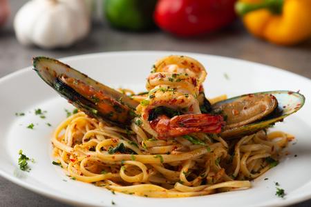 aglio olio spaghetti with seafood