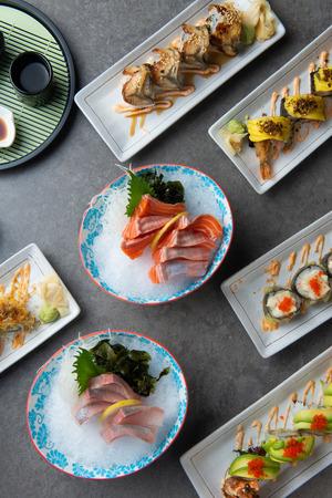 various sushi flat lay shot