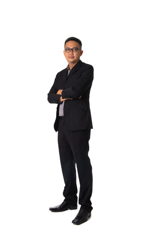 asian business man isolated on white full body 版權商用圖片