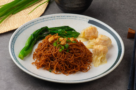wantan noodles on background