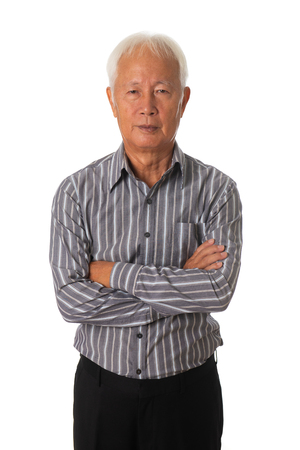 senior asian businessman on white background