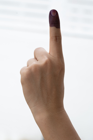A finger mark with indelible ink at a polling station in Malaysia 스톡 콘텐츠