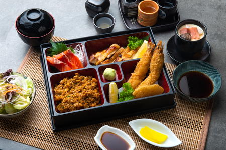 Japanese bento set with dark background