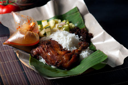 Nasi lemak kukus traditional malay dish Stock Photo