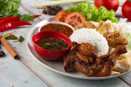 Indonesian traditional rice with chicken