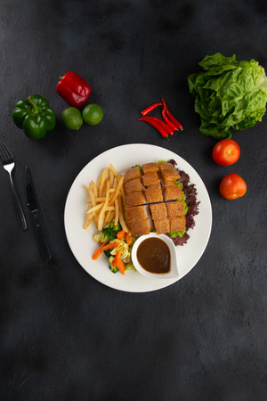 Chinese crispy pork belly top down