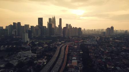 View of Kuala Lumpur skyline during sunrise