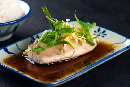chinese style, fish steamed with soy sauce with ingredient Stock Photo