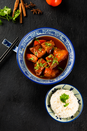 chiense beef stew , flat lay Stock Photo