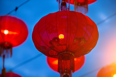 Chinese new year lanterns in china town, characters are generic grettings