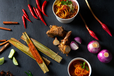 asian laksa top down with a lot of spices and ingredients Stock Photo