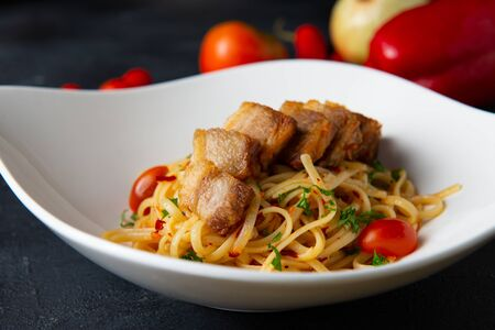crispy Pork belly spaghetti