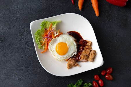 penang loh bak , spicy pork rolls with egg and rice Stock Photo