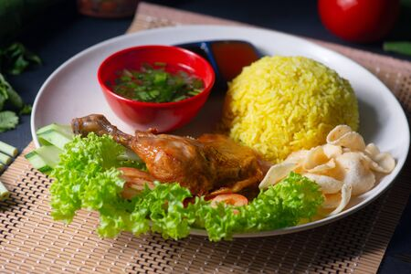 traditional malay style chicken rice or nasi ayam
