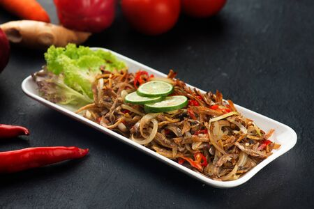 Stir-fried anchovy with sambal and chilli, traditional malay food