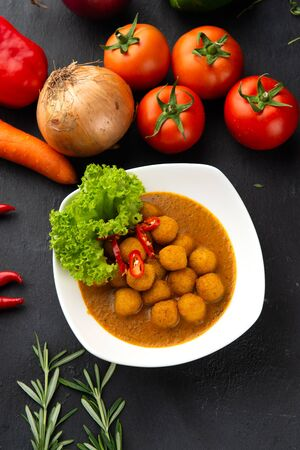 curry fish ball with background