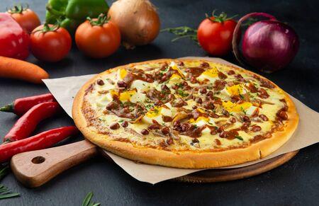 Nasi Lemak Pizza malaysia fusion dish 免版税图像