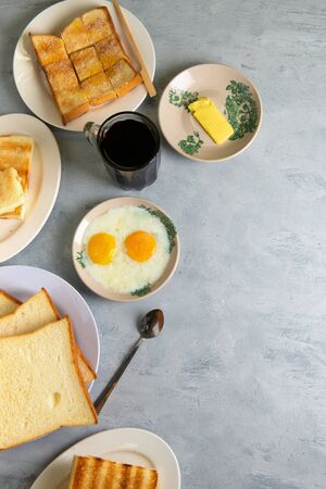 typical malaysian breakfast nanyang cuisine with copy space