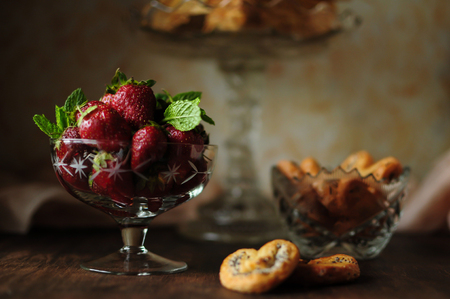 Tasty, juicy, beautiful strawberry in a vase