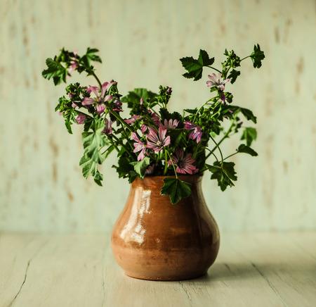 ollas de barro: Pot with wildflowers. Wildflowers. Beautiful still life.