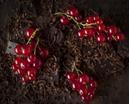 ��Still delicious with juicy red currant berries and  chocolate bars. Stock Photo
