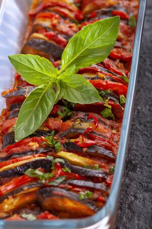 A dish of French cuisine - Ratatouille. Dish of the fall season.