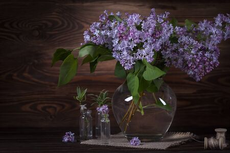 Still life with lilacs. Fragrant lilac.