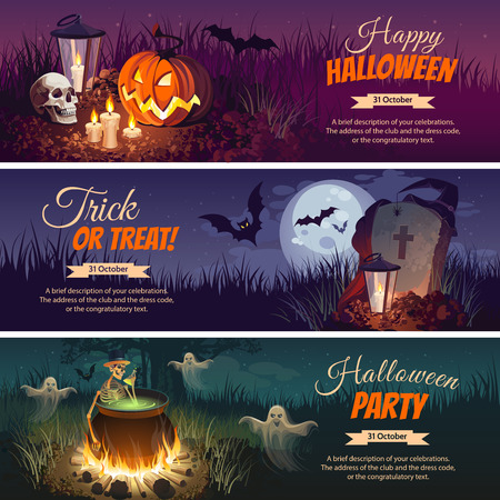 precipice: Halloween Banners with the characters on the background. Night autumn landscape