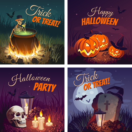 Halloween Banners with the characters on the background. Night autumn landscape. Vector Illustration