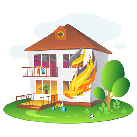 Illustration with burning house for companies insuring the property.