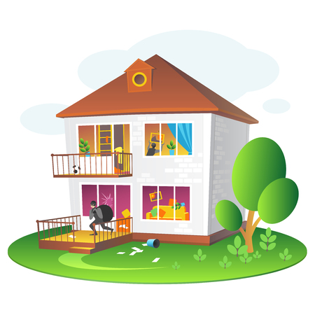 Illustration with burglary of a dwelling for companies insuring the property.