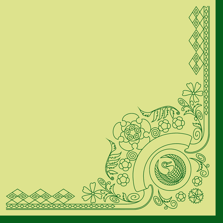 Ornament with Silhouettes of Ancient Japan Symbols  イラスト・ベクター素材