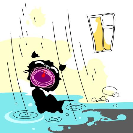 Illustration with a homeless kitten in the rain. Illustration