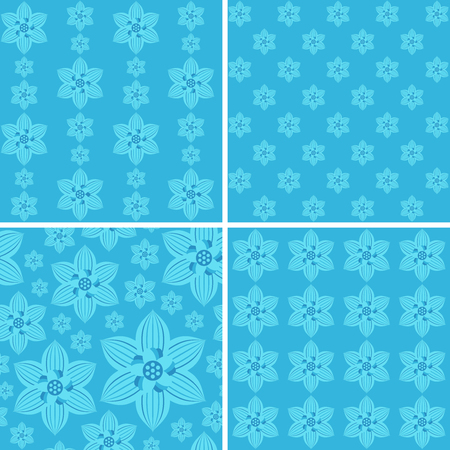 Seamless floral patterns on blue background.