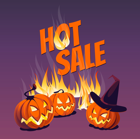 Halloween pumpkins and flames on the background of the inscription Hot Sale. Illustration